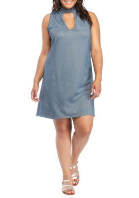 Speechless Girls' Plus Size Knit Hi Neck Sleeveless Swing Dress - New Denim - 2X