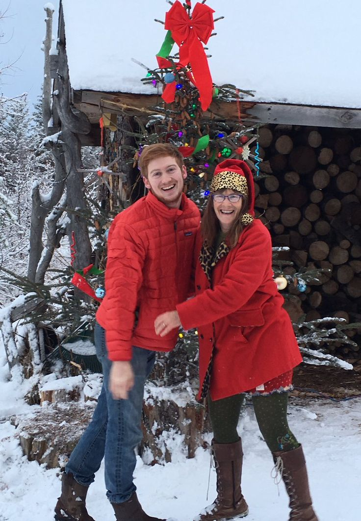 """Charlotte Kilcher on Twitter: """"Happy #wintersolstice! Had a blast decorating the woodshed Xmas tree with @August_Kilcher & Jane!"""