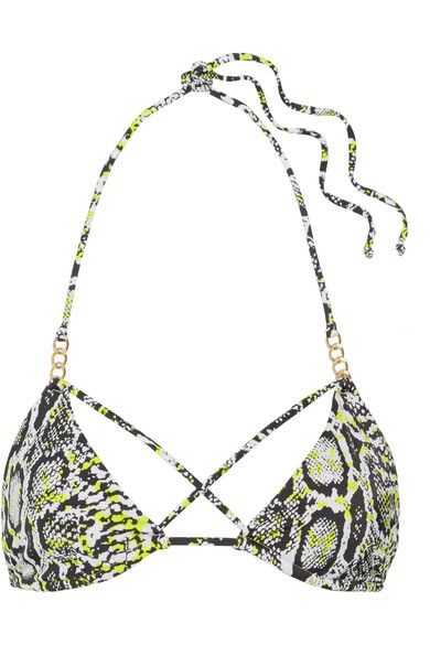 L'Agent by Agent Provocateur - Mercades Embellished Printed Triangle Bikini Top - Snake print - small