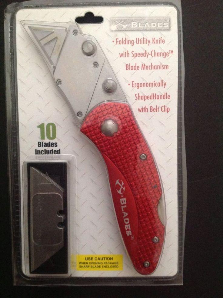 Folding Utility Knife 10 Blades IncludedErgonmically ShapedHandle With Belt Clip