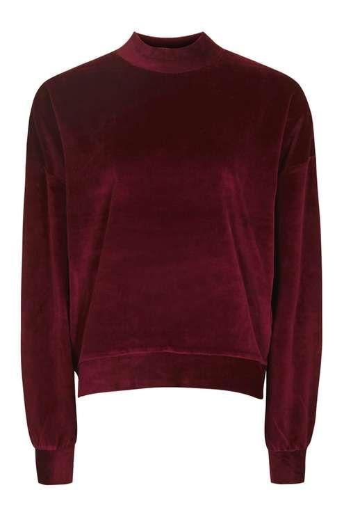 Batwing Velvet Sweatshirt - Topshop