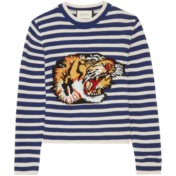 Gucci Intarsia wool sweater ($1,500) ❤ liked on Polyvore featuring tops, sweaters, blue, gucci sweater, striped crew neck sweater, blue crew neck sweater, crewneck sweaters and wool crewneck sweater