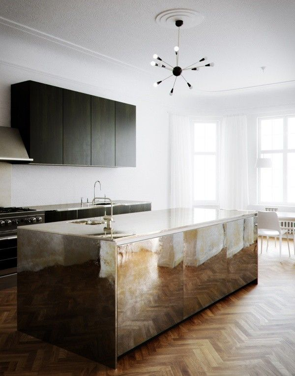 Trend Alert: 9 Kitchens with Brass Accents- love the floor