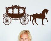 Princesse, cheval et chariot, Buggy - autocollant, autocollant, vinyle, mur, maison, pépinière, décor de chambre de la jeune fille