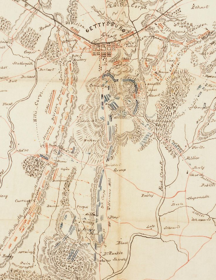 """"""" Lee's Map of the battle of Gettysburg, July 2, 1863 (Accompanying General Lee's report of the battle.); War Department Collection of Confederate Records; Record Group 109 """" The battle lines are drawn as day 2 dawns during the Battle of Gettysburg,..."""