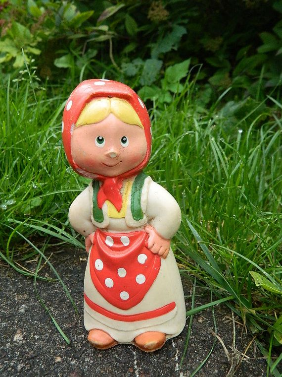 Rare  soviet rubber toy - typical Russian outfit - made in USSR - Soviet Toy - Polka Dots