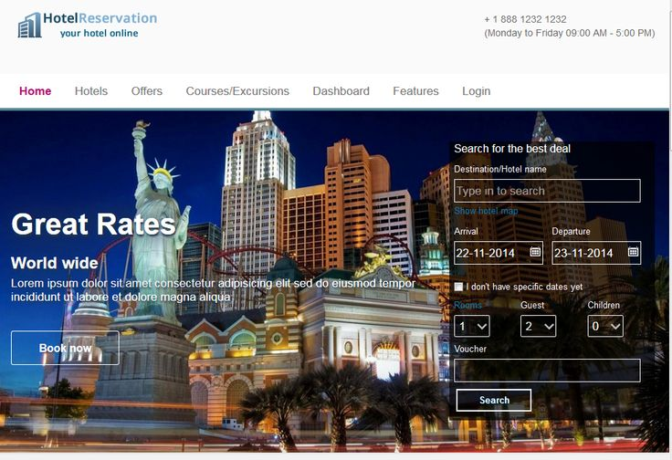 J-Voyage template for Joomla hotel reservation extension - CMS Junkie