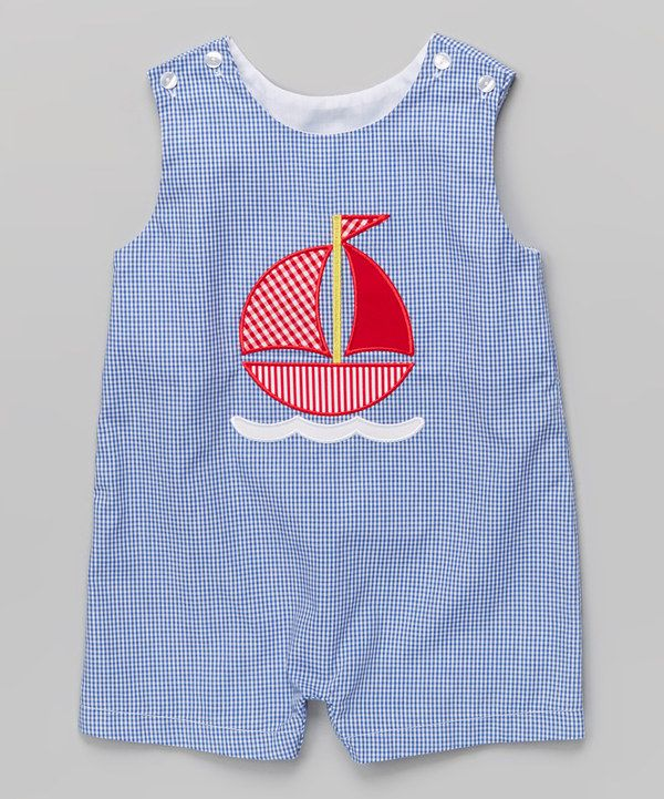 Look at this Royal Blue Gingham Sailboat John Johns - Infant