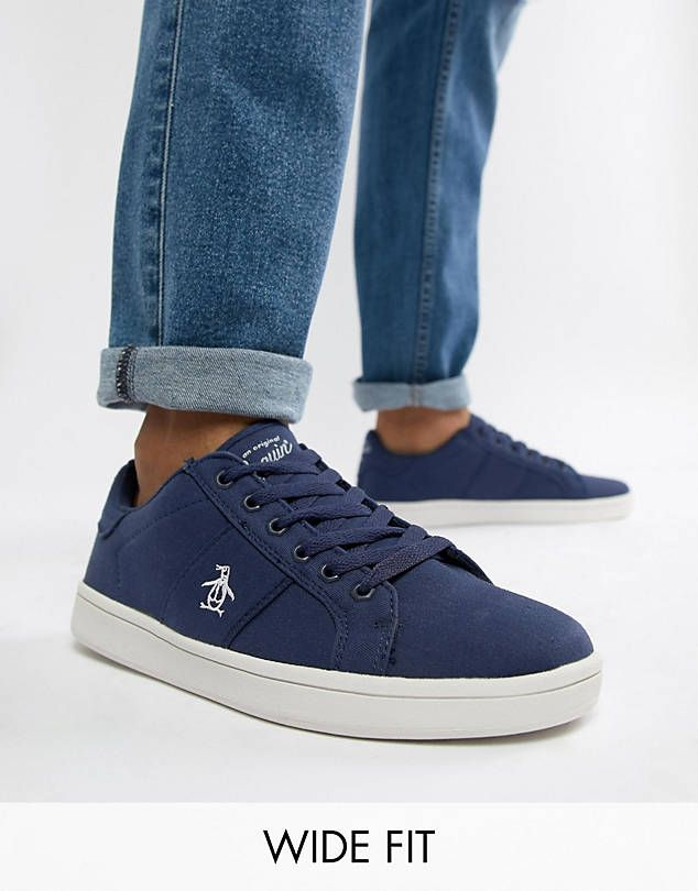 classic style a few days away special sales Original Penguin Wide Fit Stedaman Canvas Trainers In Navy ...