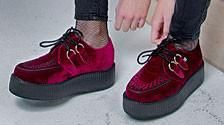 Buy the dark blue velvet vegan friendly low platform creepers Style #V9269 from the official T.U.K. Shoe store. Get fast shipping and the best selection!