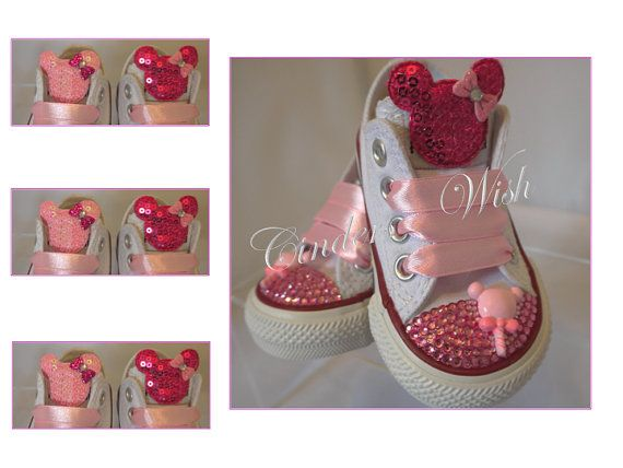 Minnie mouse Converse / bling converse/ girl by CindersWish, £49.00