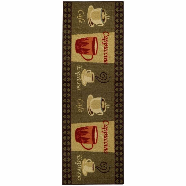 """Cafe Cappuccino Espresso Kitchen Runner Mat Floor Rubber Back Rug 20"""" x 59""""  #Unbranded #CasualContemporary"""