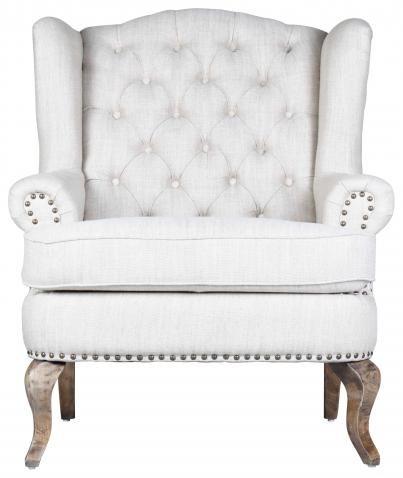 Eva Wingback Chair Salt & Pepper | Block & Chisel