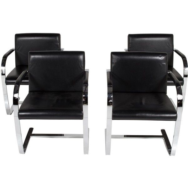 Pre-owned Chair Set of Four Modern Cantilever Chairs in the Manner of... ($1,375) ❤ liked on Polyvore featuring home, furniture, chairs, black, second hand chairs, oversized chair, chrome chairs, second hand furniture and black chrome chairs