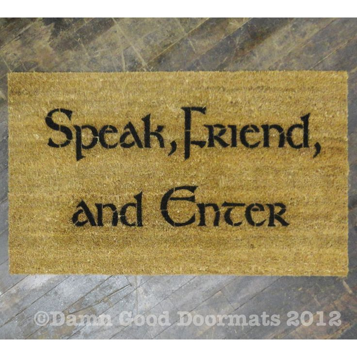 LOTR Tolkien Speak Friend and Enter welcome mat!