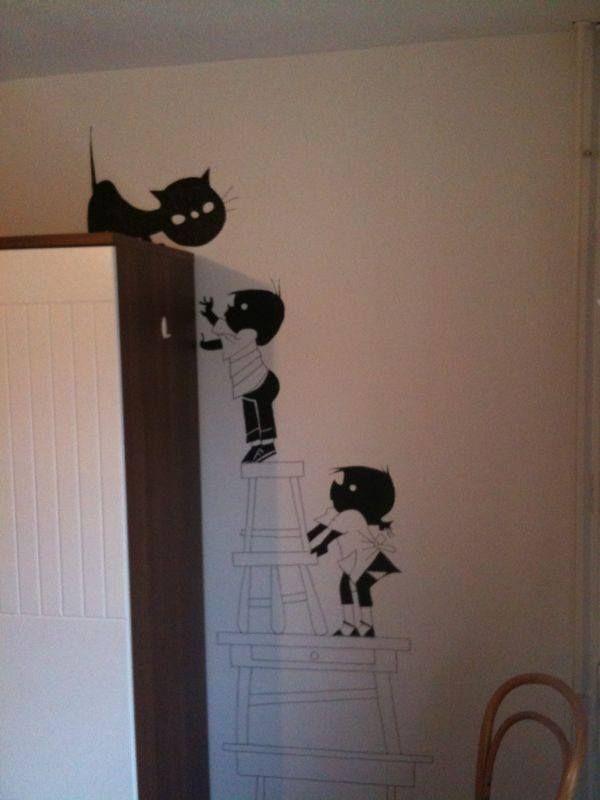 Jip janneke muurschildering this is how i roll pinterest muurschilderingen babykamer - Deco muurschildering ...
