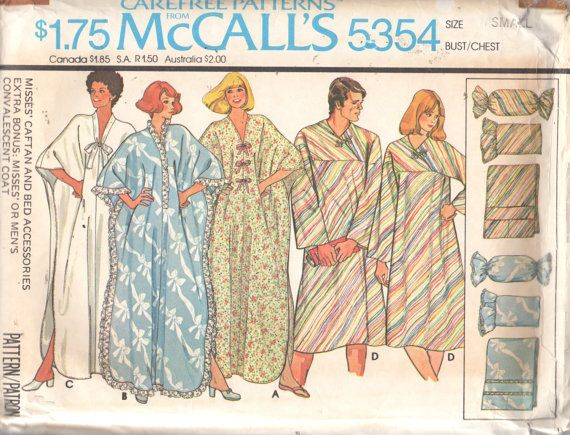 McCalls 5354 1970s Misses CAFTAN Pillows Bed Caddy Pattern