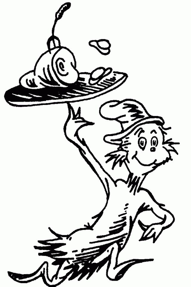 cat in the hat coloring pages - 640×960