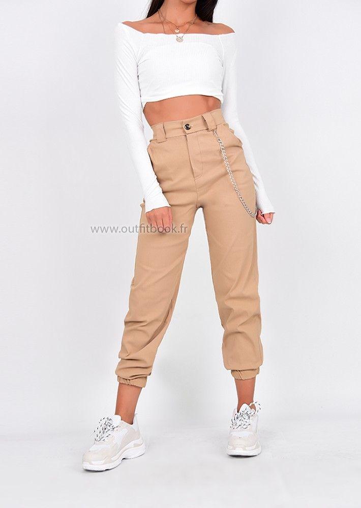Pantalon Cargo Beige Avec Chaine Pantalones De Moda Moda De Ropa Ropa De Moda