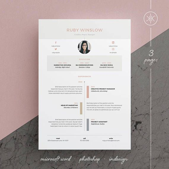 Ruby ResumeCv Template  Word  Photoshop  Indesign