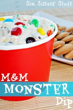 *M & M Monster Dip - Perfect for any party, BBQ or just to eat with a spoon from sixsistersstuff.com+-