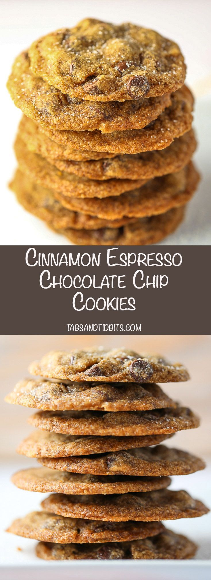 Cinnamon Expresso Chocolate Chip Cookies -Chocolate chip cookies with espresso and a sprinkle of cinnamon.