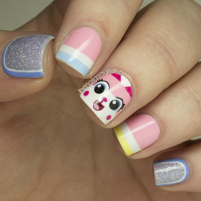 Unikitty Lego Nail Art! Business business business, numbers. Is this working? Yay!