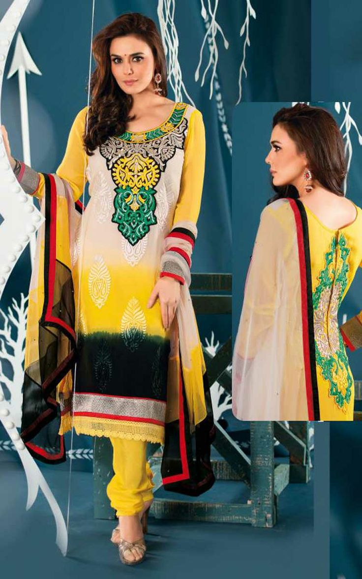 OFF WHITE & YELLOW GEORGETTE EMBROIDERED SALWAR KAMEEZ - ZIN 9005