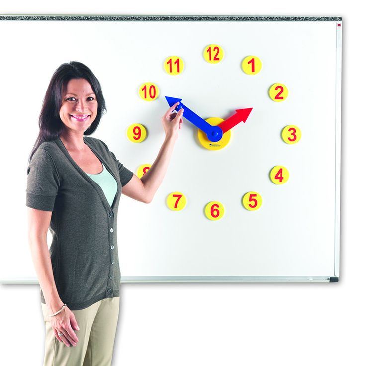 Magnetic Time Activity Set Build a giant demo clock on your whiteboard so the whole class can see! Durable plastic clock hands are geared to move in accurate increments for hands-on reinforcement. Sim