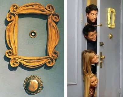 Oh, I will have the Friends peephole frame on my door. :): Peeps Hole, Purple Door, Doors Props, Apartment Living, Doors Frames, A Frames, Pictures Frames, Peephol Frames, Frames Gold
