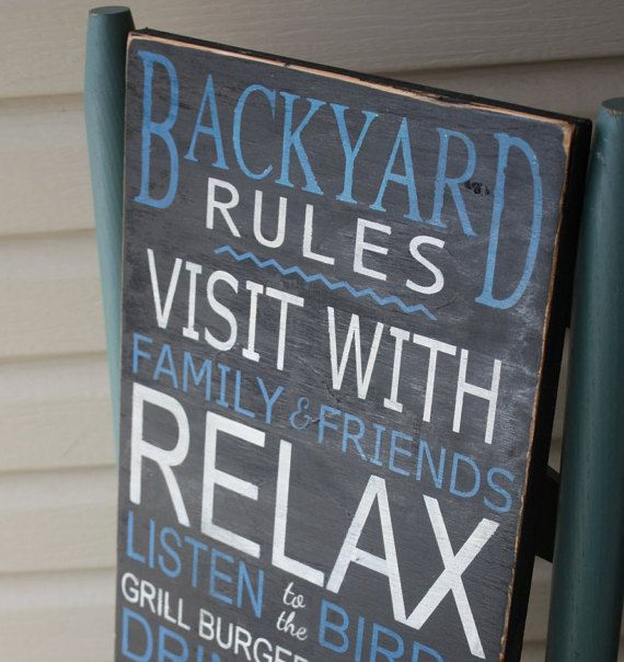 Backyard Rules Sign Personalized Wooden Sign by MamaSaysSigns
