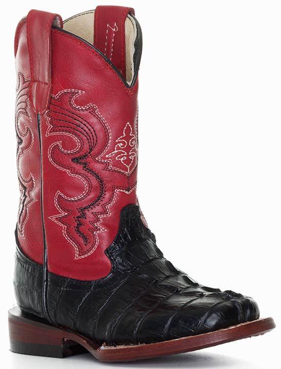 Ferrini Children's Crocodile Curve Print Square Toe Cowboy Boots - Black/ Red $79.00