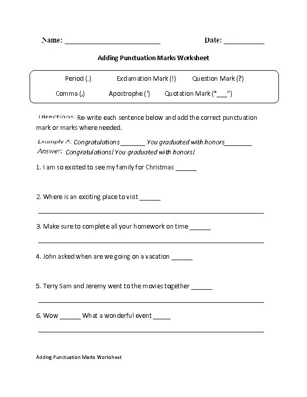 Grammar Worksheet On Commas