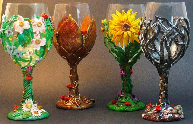 Polymer Clay decorated wine glasses.