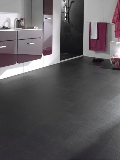 Černé vinylové podlahy EarthWerks Black Slate, design kámen černá břidlice. / Black vinyl floor EarthWerks Black Slate.  http://www.bocapraha.cz/cs/aktualita/46/earthwerks-vinylove-podlahy-inspirovane-prirodou/