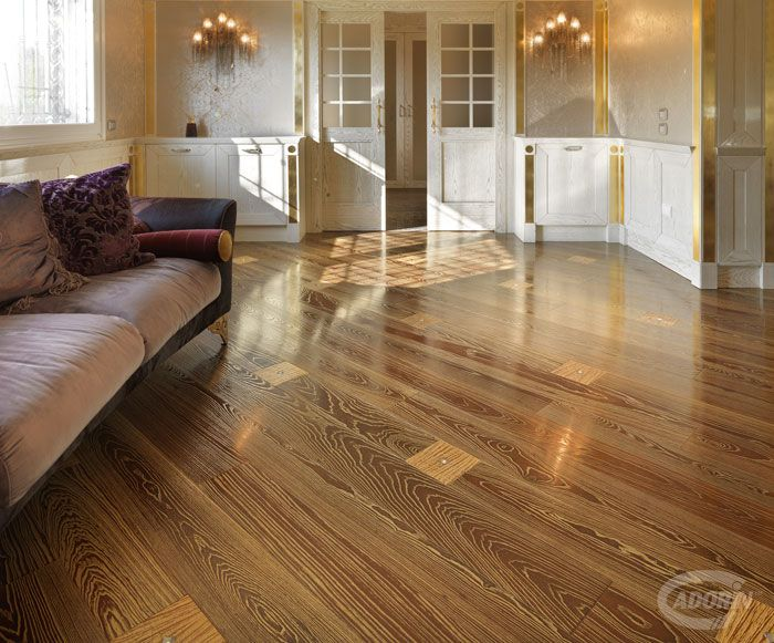 Wooden Floors / Pavimenti in legno / Gold Dust - Swarovsky inserts @cadoringroup floor decor