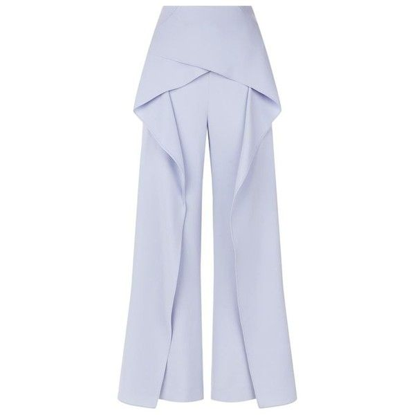 Roland Mouret Caldwell Overlay Wide-Leg Trousers ($935) ❤ liked on Polyvore featuring pants, draped pants, cropped trousers, tailored pants, wide leg trousers and cropped pants