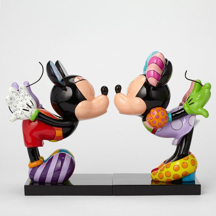 ROMERO BRITTO DISNEY MINNIE MOUSE & MINNIE KISSING SCULPTURE & BOOKENDS  ** NEW
