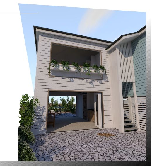A close-up of an extension designed by Focus Architecture for a property in Wynnum.
