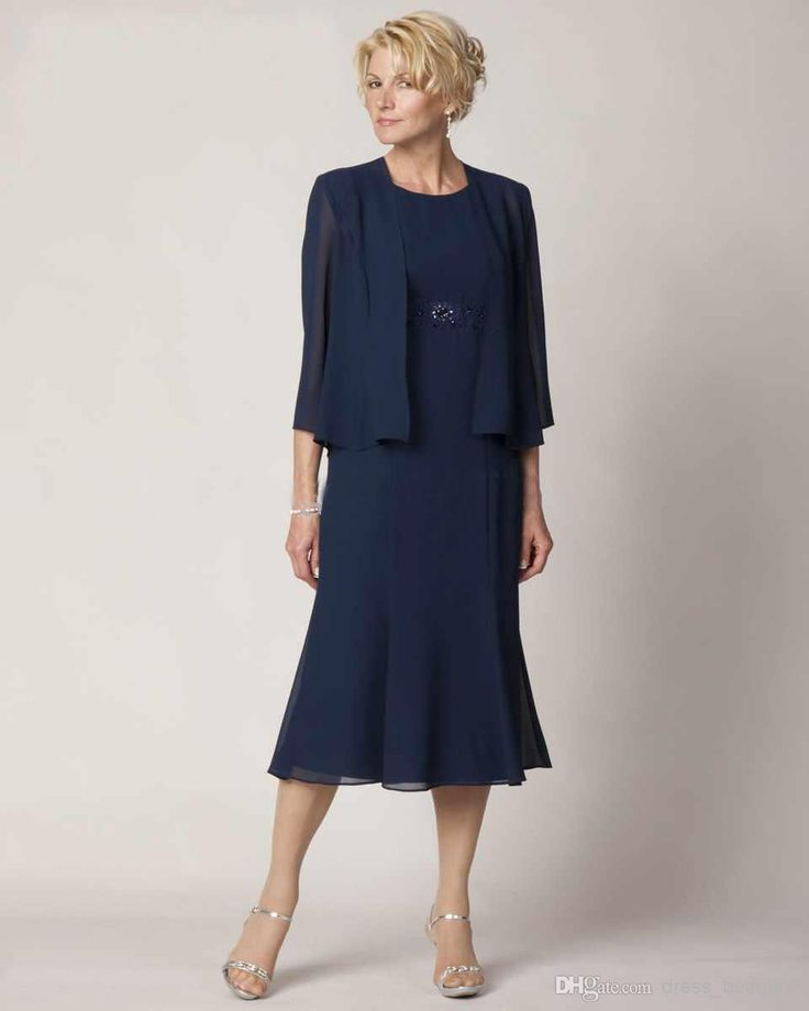 Graceful Crew Neck Knee Length Mother Of The Bride Dresses Chiffon Dark Blue Formal Evening Dress With jacket Half Sleeve
