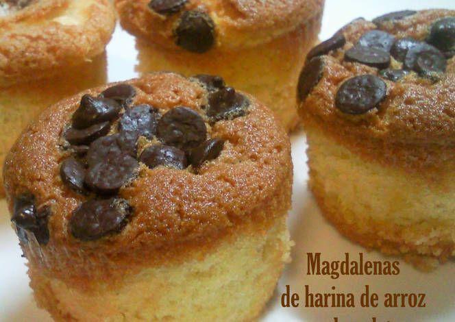 Magdalenas de harina de arroz y chocolate (Sin gluten y sin lactosa)