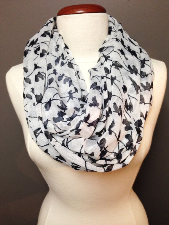 Bird Print Scarf/Viscose Spring Scarf/ by Knitkozi on Etsy, $20.00 Ships in 1 day! For more selection of these beautiful scarves visit: https://www.etsy.com/ca/shop/Knitkozi?ref=si_shop