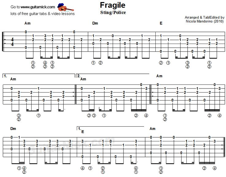 Fragile, Sting/Police - fingerstyle guitar tab 1