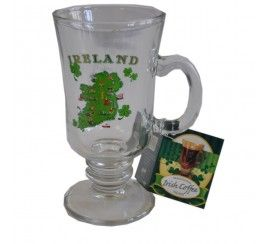 Single Irish Coffee Glass with Map of Ireland Print