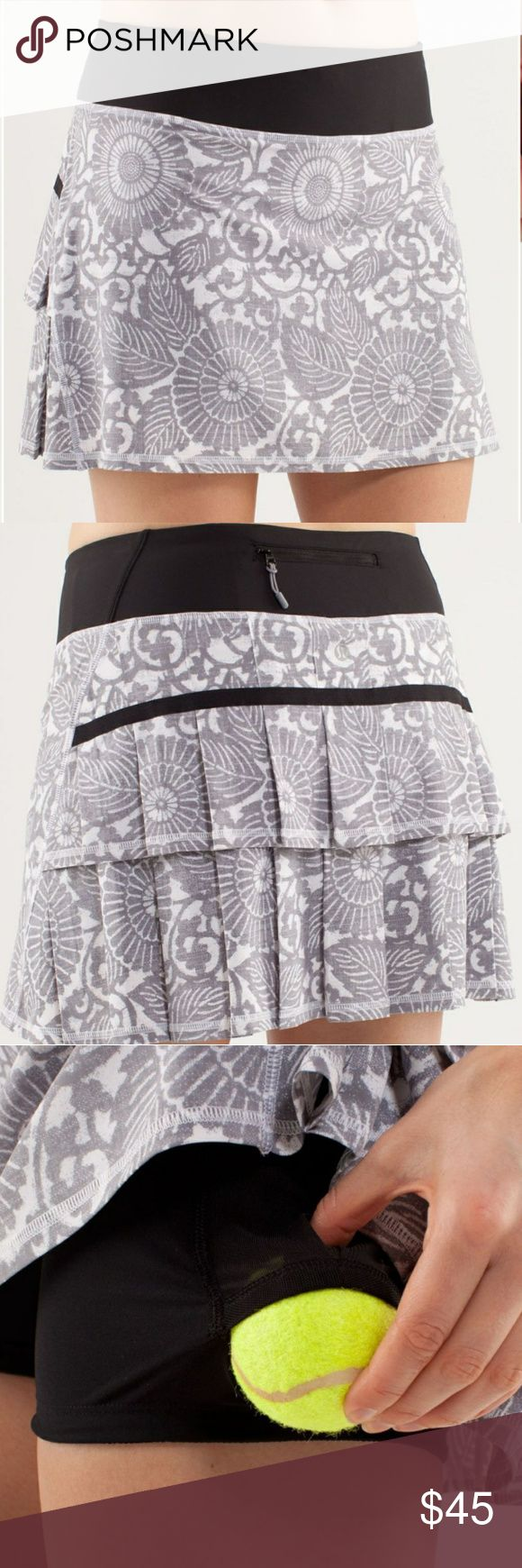 """Lululemon Pace Setter Ruffle Skirt Excellent condition! Sold out online! Rare pattern. Beachy floral white fossil. 15.5""""waist x 15""""L. lululemon athletica Shorts Skorts"""