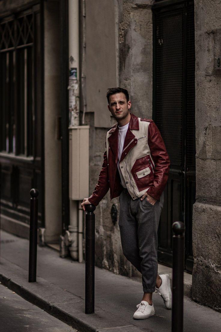 http://instagram.com/Bloggers_Boyfriend  StreetStyles, Street style, Menstyle, Mensfashion, Biker Jacket, Bally, Colour block red bike leather jacket, BloggersBoyfriend, Paris. Interesting red Biker Jacket
