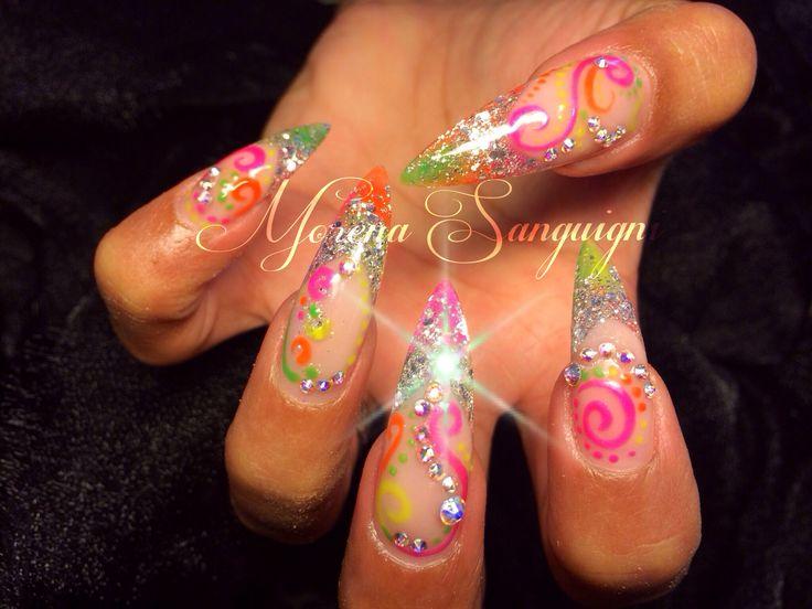 Neon rainbow stiletto nails swirls summer coloured gel & acrylic with bling.