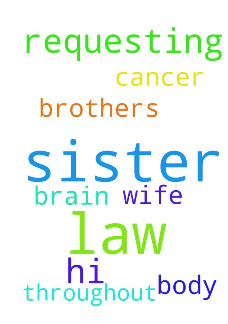 Hi, I'm requesting prayer for the sister n law of my - Hi, Im requesting prayer for the sister n law of my brothers wife. She has cancer in her brain and throughout her body. Posted at: https://prayerrequest.com/t/tsz #pray #prayer #request #prayerrequest