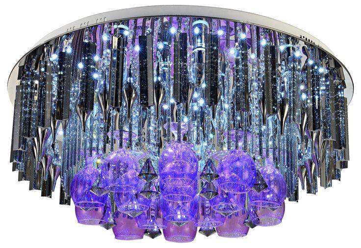 Plafoniera kryształowa DUBAJ 19x60W Lampex srebrny 307/19 pilot LED RGB