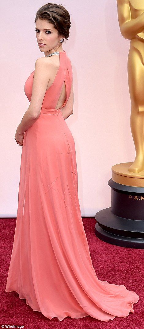 Stunning turn: Anna Kendrick was pretty in pink in a floor-length sleeveless gown...
